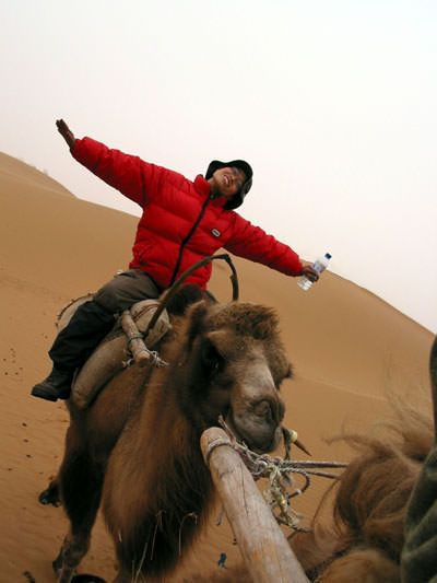 Cat riding a camel in China