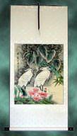 Egret Birds Handmade Chinese Silk Wall Scroll
