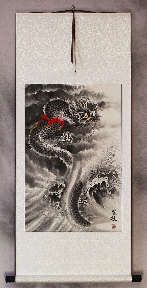 Flying Chinese Dragon In Clouds Asian Wall Scroll