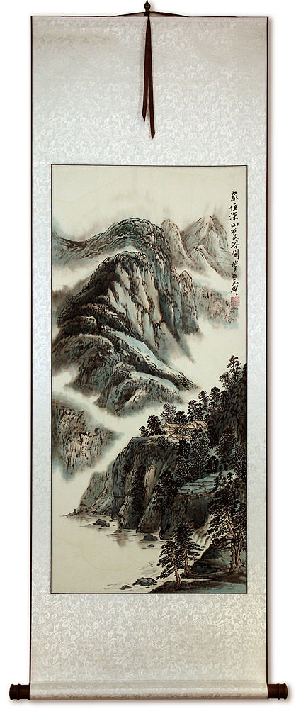 Chinese River Landscape Wall Scroll