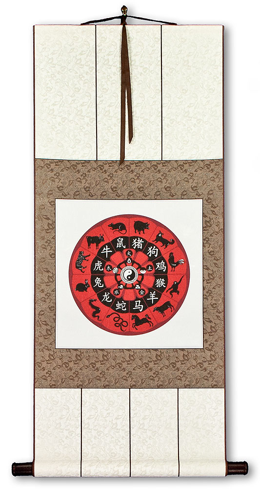 Chinese Zodiac - Animal Symbols - Wall Scroll