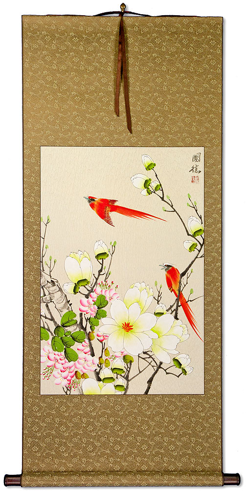 Red Cardinals and Bright Flowers Wall Scroll