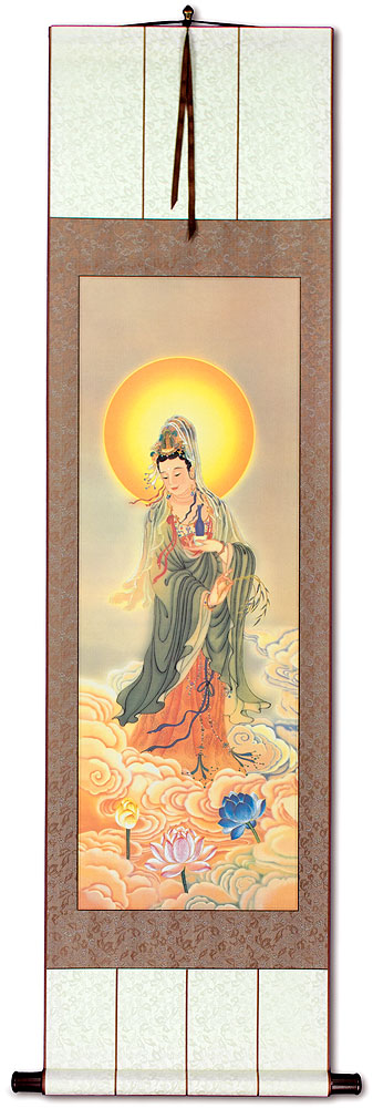 Guanyin Buddha Holds the Jing Ping - Giclee Print - Wall Scroll