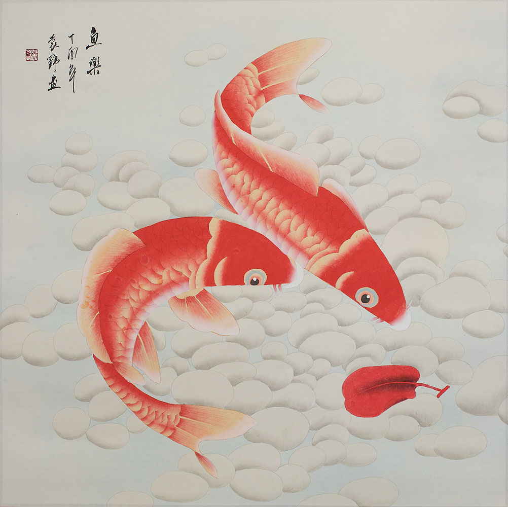 Two Orange Koi Fish - Large Painting