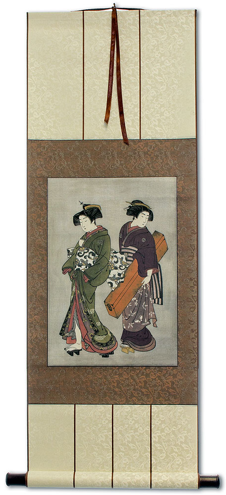 Geisha & Servant Carrying a Shamisen Box - Japanese Print Repro - Wall Scroll