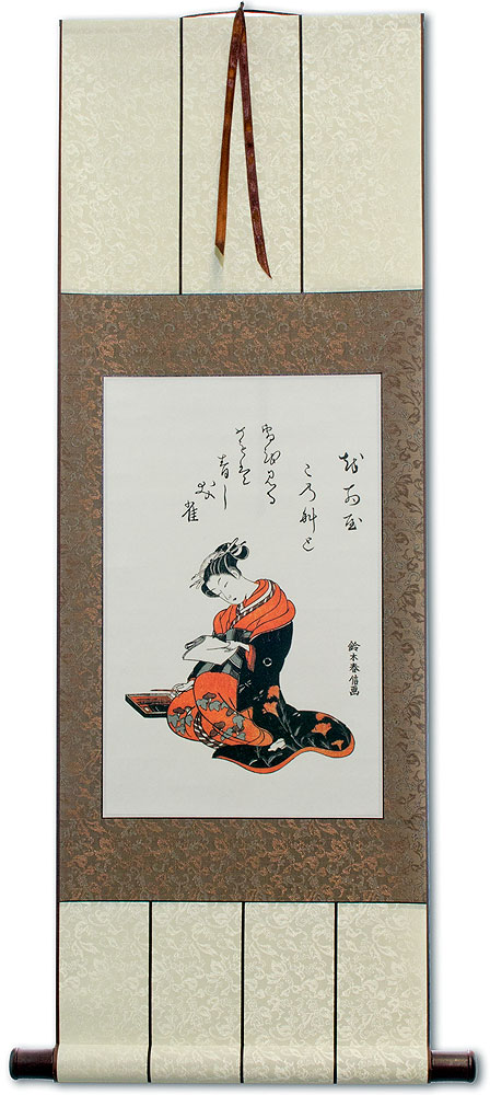 The Courtesan Kasugano Writing a Letter - Japanese Print Repro - Wall Scroll