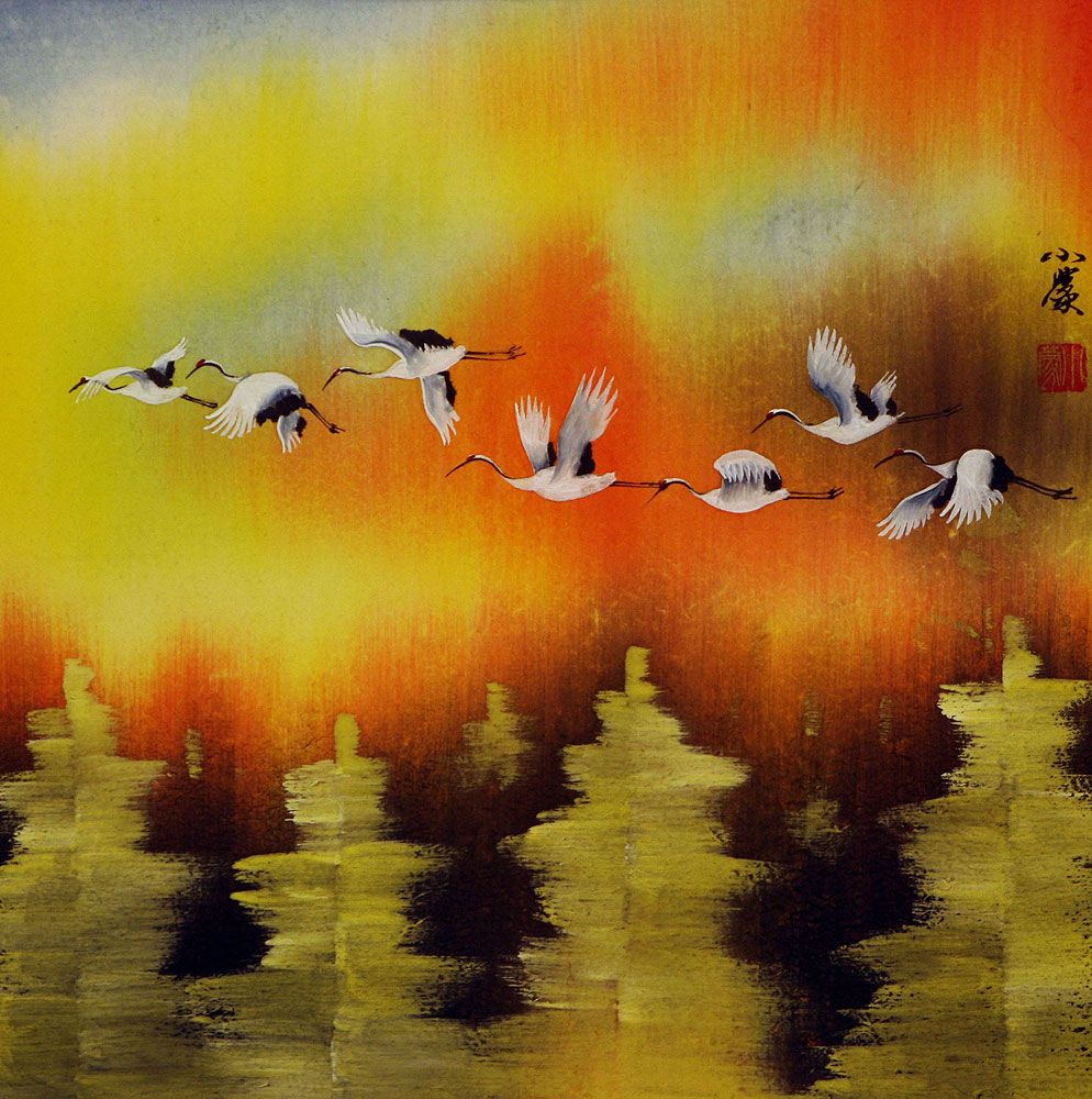 Cranes Taking Flight in Autumn - Asian Art Painting