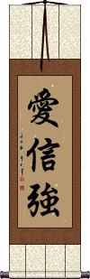 Love Faith Strength Wall Scroll