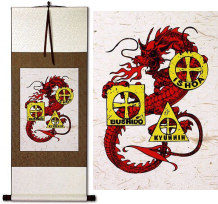Bushido Ishoa Tomadachi Dragon<br>Wall Scroll