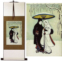 Lovers in the Snow<br>Japanese Woodblock Print Repro<br>Wall Scroll