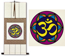 Colorful Om Symbol<br>Hindu / Buddhist Wall Scroll
