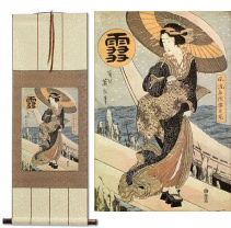 Beauty in the Snow<br>Japanese Woodblock Print Repro<br>Wall Scroll