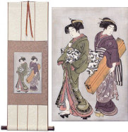 Geisha & Servant Carrying a Shamisen Box - Japanese Print - Small Wall Scroll