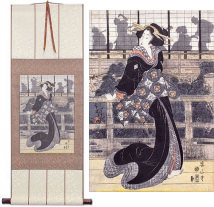 Geisha on the Veranda<br>Japanese Woodblock Print Repro<br>Wall Scroll
