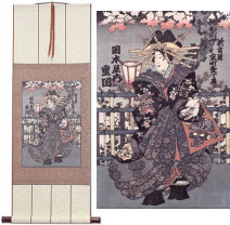 Shigeoka Geisha<br>Japanese Woodblock Print Repro<br>Wall Scroll