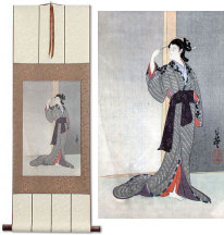 Courtesan with a View of the Rain<br>Japanese Woodblock Print Repro<br>Wall Scroll