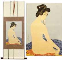 Nude Woman After Bath<br>Japanese Woodblock Print Repro<br>Wall Scroll