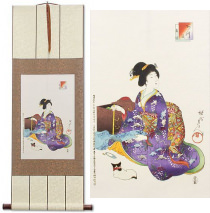 Woman Sewing<br>Japanese Woodblock Print Repro<br>Wall Scroll