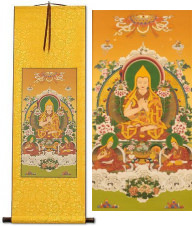 Tibetan Buddha Print<br>Yellow Wall Scroll