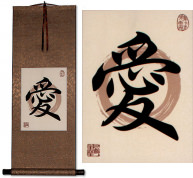 Love in Chinese and Japanese Kanji<br>Print Scroll