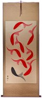 Large Abstract Yin Yang Koi Fish Wall Scroll