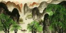 Huge Li River Green Trees Landscape Painting