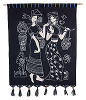 Tribal Ethnic Women Batik Wall Hanging Art