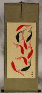Large Nine Abstract Koi Fish Oriental Wall Scroll