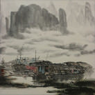 Boats on the Li River<br>Landscape Painting