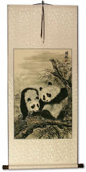 Chinese Pandas Wall Scroll