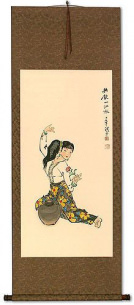 Woman Connected to Lover by Water - Wall Scroll