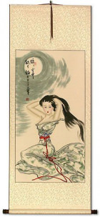 Beautiful Woman Under the Moon - Asian Scroll