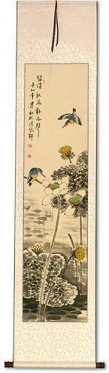 Kingfisher Birds in Autumn Lotus Pond - Chinese Scroll
