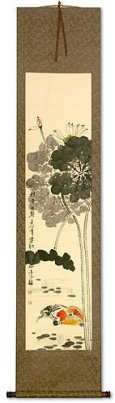 Mandarin Ducks & Lotus Flowers - Together Forever - Chinese Scroll