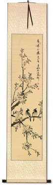 Birds in Perched on Loquat Tree - Chinese Scroll