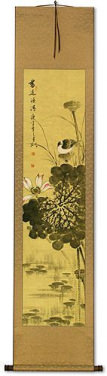 Fragrance - Chinese Birds and Lotus Wall Scroll