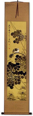 Clear Dawn - Bird and Lotus Pond - Chinese Scroll
