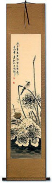 Withering Lotus & Kingfisher Bird - Chinese Scroll