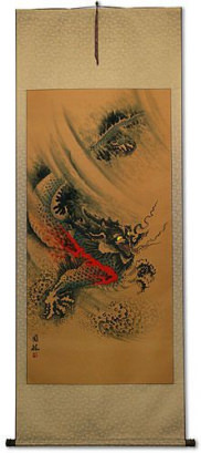 Flying Chinese Dragon - Chinese Scroll