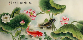 Koi Fish Having Fun in the Lotus Flowers<br>Large Painting