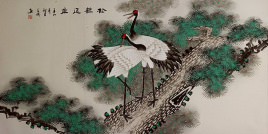 Asian Cranes and Pine Tree<br>Large Painting