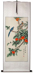 The Golden Autumn - Bird and Persimmon Chinese Scroll