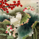 Elegant Egrets in the Lotus Pond<br>Watercolor Painting