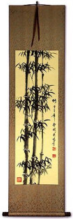 Black Ink Chinese Bamboo Wall Scroll