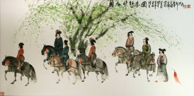 Tang Dynasty Horseback Ride<br>Large Painting