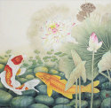 Koi Fish in Lotus Pond<br>Large Painting
