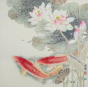 Koi Fish and Lotus Flower<br>Gorgeous Asian Painting