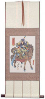 Warrior Guan Gong on Horseback Wall Scroll