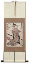 Geisha - Midnight Rain - Shoji Screen - Japanese Woodblock Print Repro - Wall Scroll