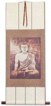 Stone Buddha Giclee Print - Wall Scroll